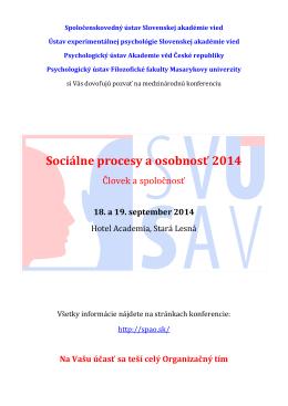 Sociálne procesy a osobnosť 2014