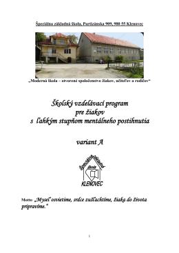 Učebné osnovy, variant A - Špeciálna základná škola Klenovec