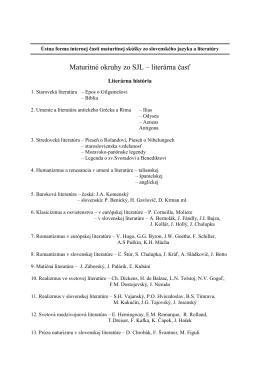 Maturitné okruhy zo SJL – literárna časť