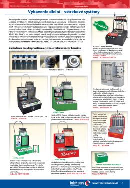 Vybavenie dielní – vstrekové systémy