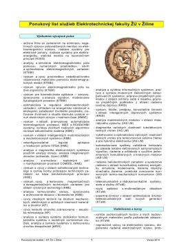 Ponukový list - Elektrotechnická fakulta