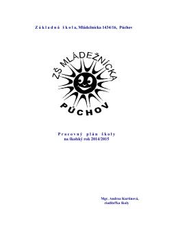 Plán práce 2014/2015 - Základná škola, Mládežnícka 1434/16
