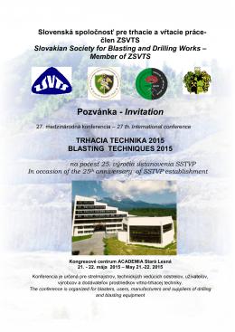 Pozvánka - Invitation - Slovenská banícka spoločnosť