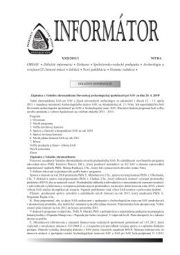 Informátor SAS XXII/2011/1 - Slovenská archeologická spoločnosť