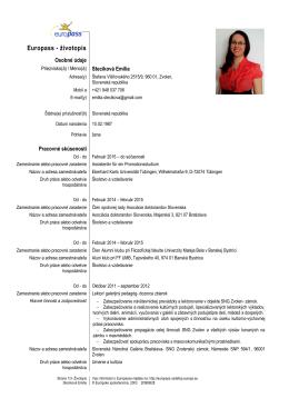 Europass - životopis - Asociácia doktorandov Slovenska