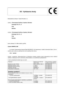 ES - Vyhlásenie zhody - JPJ Stav, sro Poprad