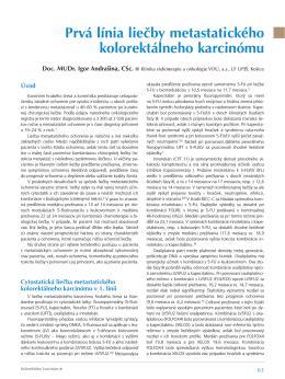 Prvá línia liečby metastatického kolorektálneho karcinómu