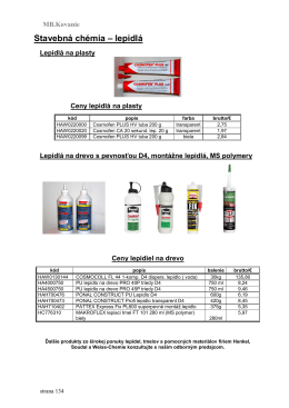Stavebná chémia – lepidlá
