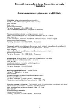 Zoznam excerpovaných časopisov pre databázu ČLÁNKY