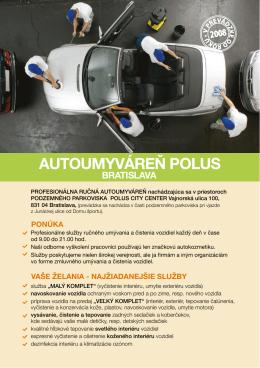 Informačný leták - Autoumyváreň Polus Bratislava