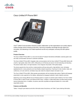 Cisco Unified IP Phone 8941 Data Sheet