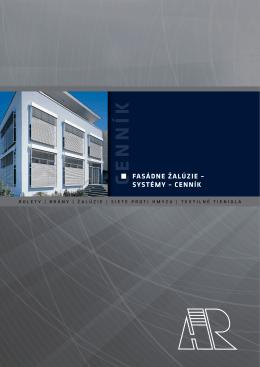 Fasádne žalúzie, systémy – cenník bez DPH (pdf)