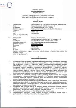 lu Rámcová zmluva o poskytovaní služieb (ďalej len Zmluva