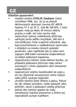 Důležité upozornění! mobilní telefon EVOLVE Gladiator získal