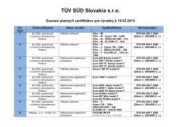 Zoznam platných certifikátov [ PDF 138 kB ]