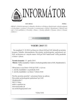 Informátor SAS XXV/2014/2 - Slovenská archeologická spoločnosť
