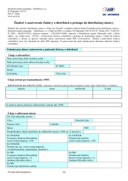 Žiadosť o uzatvorenie samostatnej distribučnej zmluvy