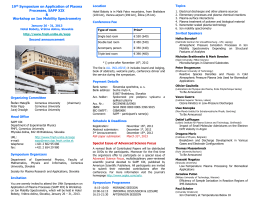 19th Symposium on Application of Plasma Processes, SAPP XIX