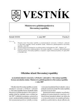 Celý vestník - Ministerstvo pôdohospodárstva a rozvoja vidieka SR