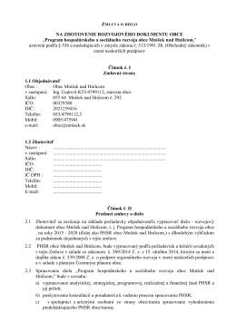 Zmluva o dielo PHSR - Obec Mníšek nad Hnilcom