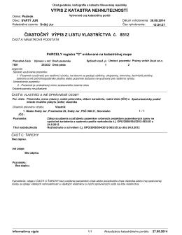 PDF: Kataster – Vypis