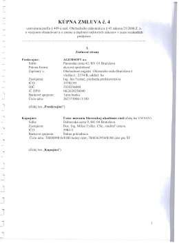 KÚPNA ZMLUVA č. 4 - Ústav merania SAV