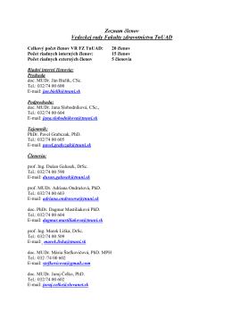 Zoznam členov - Fakulta zdravotníctva TnUAD