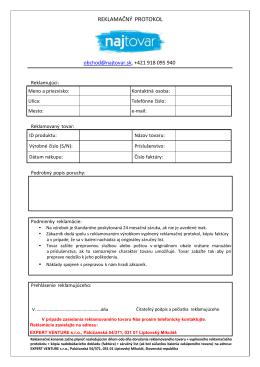 Reklamačný protokol na stiahnutie