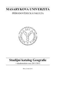 Studijní katalog Geografie