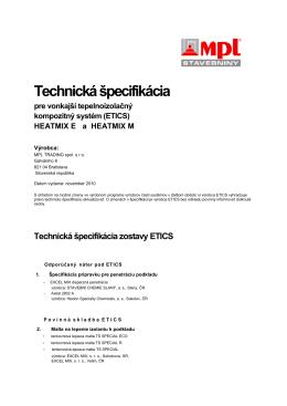 Technická špecifikácia zostavy ETICS