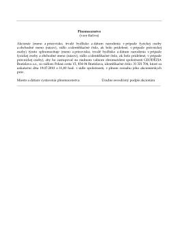 Vzor tlačiva písomného splnomocnenia