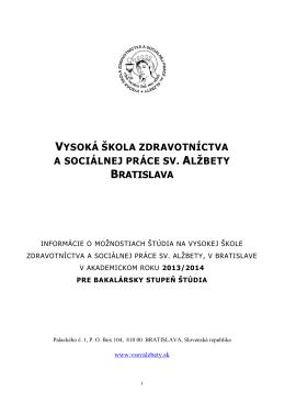 vysoká škola zdravotníctva a sociálnej práce sv. alžbety bratislava