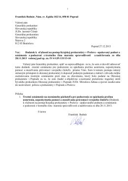Podanie adresované Generálnemu prokurátorovi SR s prílohami