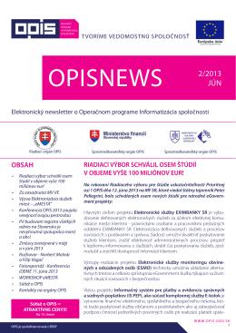 opisnews 2/2013 - INFORMATIZÁCIA