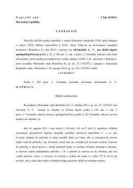 N a j v y š š í s ú d 3 Tdo 34/2014 Slovenskej