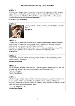Občianska náuka: Citáty z diel filozofov