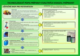 technologický popis prípravy kvalitných kvasov, prípravky