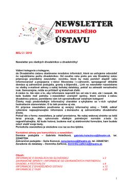 Newsletter Divadelného ústavu Máj 2/ 2010 (pdf