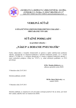 nákup a dodanie pneumatík - Záchranná zdravotná služba Bratislava