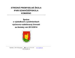 Správa o VVČ 2013/2014 - Stredná priemyselná škola KOMÁRNO