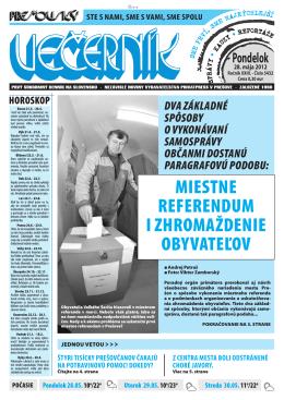 Miestne referendUM i zhrOMaždenie ObyvateľOv