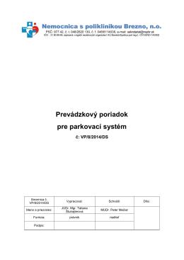 Prevádzkový poriadok pre parkovací systém