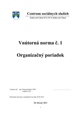Vnútorná norma č. 1 Organizačný poriadok