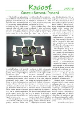 Farský časopis Radosť 3/2010