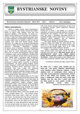 Bystrianske noviny č. 1/2014