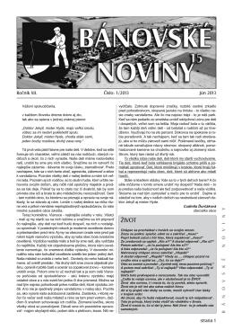 Bánovské noviny - obec Bánovce nad Ondavou
