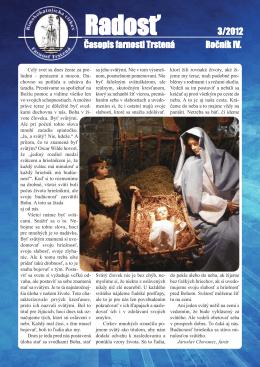 Farský časopis Radosť 3/2012