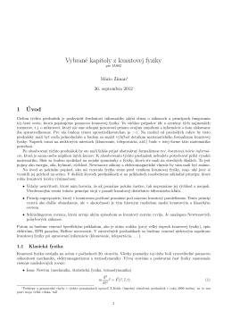 Vybrané kapitoly z kvantovej fyziky