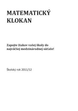 Pravidlá súťaže Matematický klokan v školskom roku 2011/12