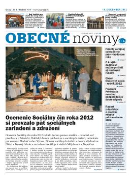 Ocenenie Sociálny čin roka 2012 si prevzalo päť